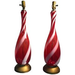 Exquisite Pair of Red and White Stripe Murano Glass Barovier Table Lamps