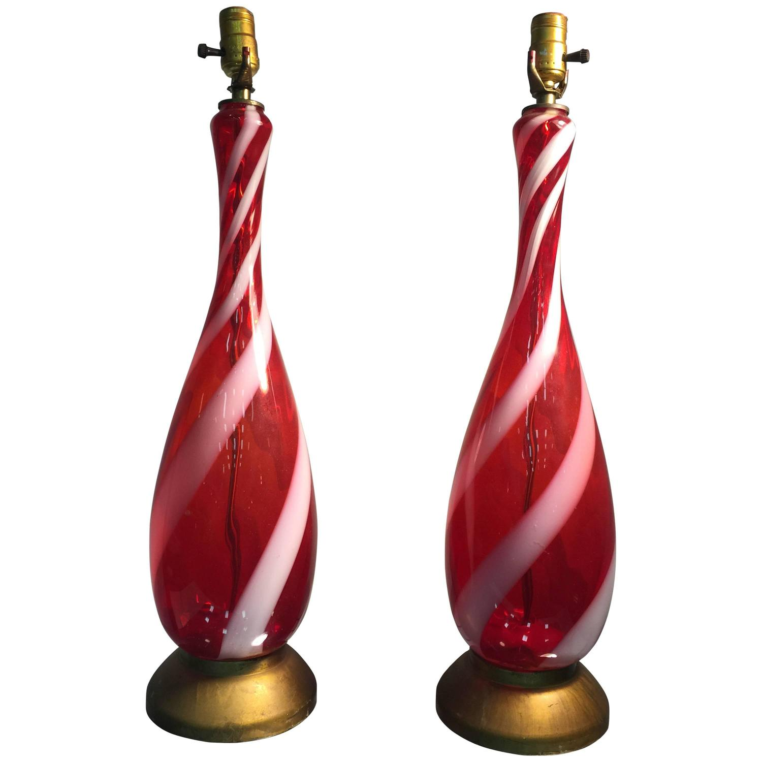 red and white stripe murano glass barovier table lamps for sale at. Black Bedroom Furniture Sets. Home Design Ideas