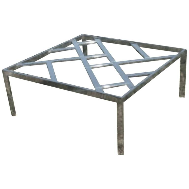 Milo Baughman DIA Chrome Chinese Chippendale Coffee Table Design Institute DIA