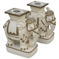 Elephants Pair of Gold White Stools Plant Stands End Side Tables Benches Garden
