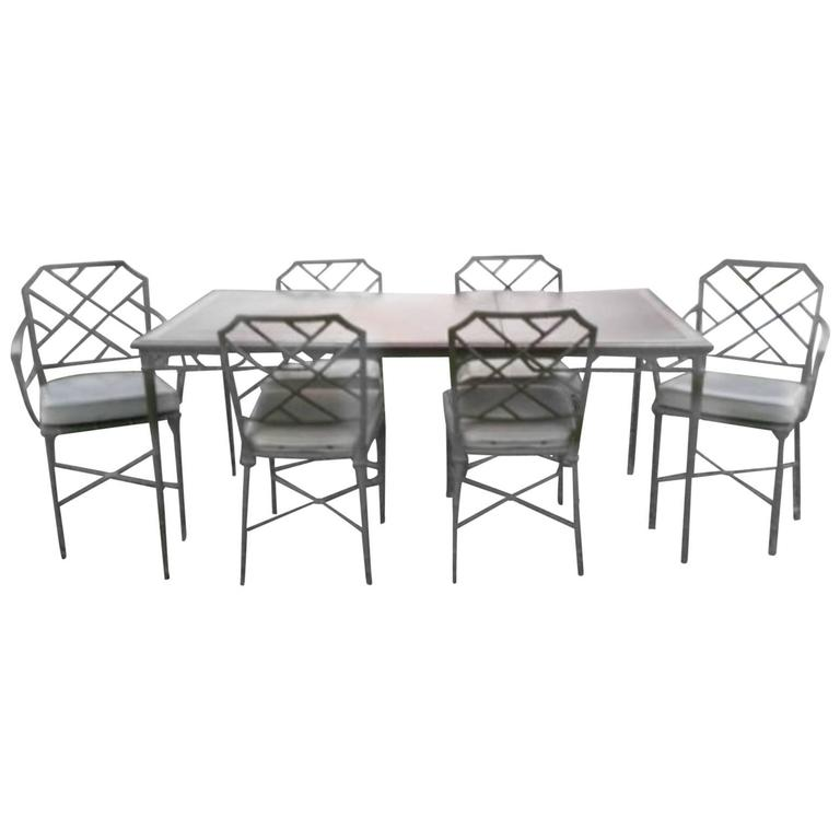 Brown Jordan Seven Piece Calcutta Faux Bamboo Patio Set Of Dining Table Chairs For
