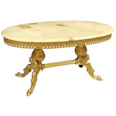 Golden Chiseled Brass Coffee Table with Onyx Top