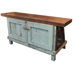 1930s Double Face French Factory Workbench Original Patina