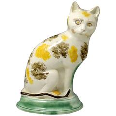 Antique English Pottery Figure of a Seated Cat with Underglaze Colours Late 18th