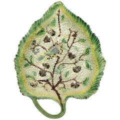 Whieldon Type Pottery Leaf Dish with Relief Decoration of a Bird in Foliage, Sta