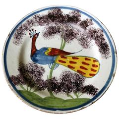 English Delftware Polychrome Decorated Peacock Farmhouse Plate