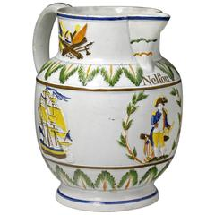Antique English Pottery Prattware Commemorative Pitcher with Nelson and Britanni
