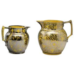 English Pottery Yellow Ground Pitcher with Silver Luster Resist Decoartion Early