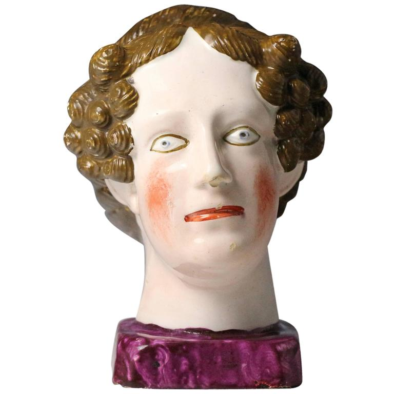 Pearlware Bust of Queen Charlotte, Staffordshire Pottery Early 19th Century, Eng
