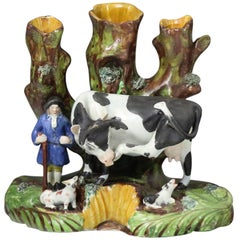 Staffordshire Pottery Tree Trunk Pearlware Figure of a Cow with Farmer, English