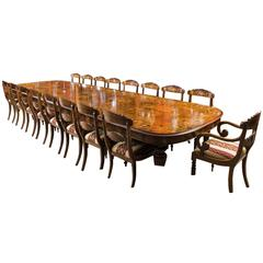 Huge Marquetry Walnut Extending Dining Table 18 Chairs