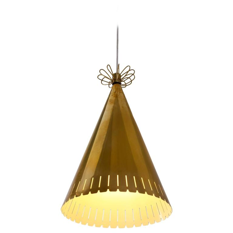 Paavo Tynell Rare Brass Cone Shaped Pendant for Taito, Finland, 1940s 1