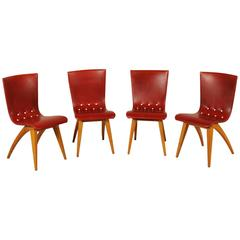 Group 4 Elegant Maple Foam and Leatherette Chairs by H.J. Van Oss for Culemborg