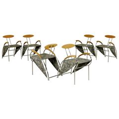 Group of Six 'Velox' Metal and Beech Chairs by Massimo Iosa Ghini for Moroso
