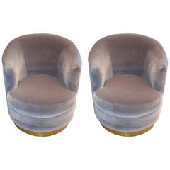 Karl Springer Swivel Bucket Chairs