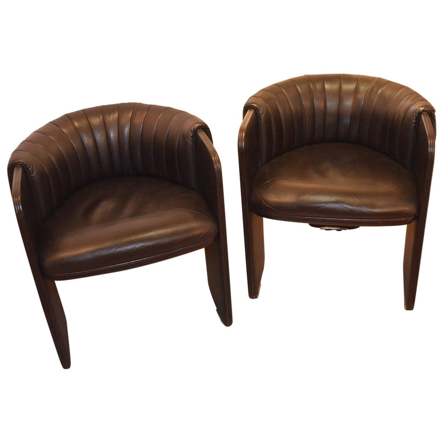 Leather sofa by poltrona frau at 1stdibs - Poltrona Frau Pair Of Vintage Black Leather Armchairs Dinette By Luigi Massoni At 1stdibs