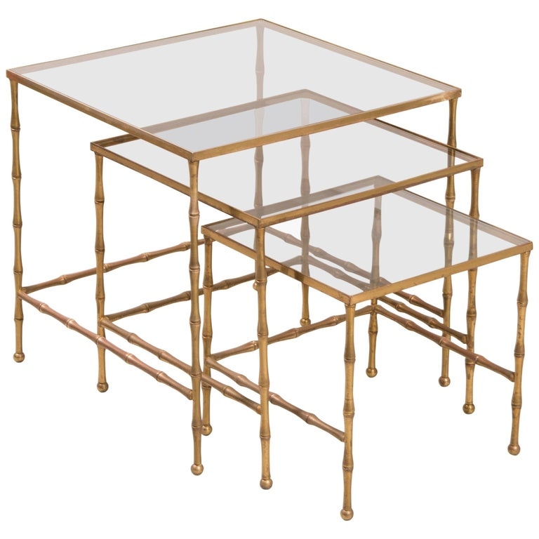 French Faux Bamboo Nesting Tables For Sale
