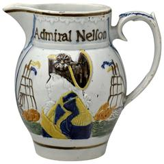 Commemorative of Admiral Nelson and Captain Berry Prattware Pitcher, circa 1805