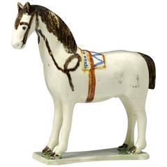 Antique English Pottery Figure of a Horse in Prattware, circa 1800
