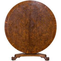 Antique English Pollard Oak and Yew Tilt Top Table, circa 1840