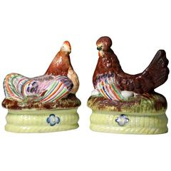 Pair of Staffordshire Pottery Pearlware Hen and Rooster on Baskets