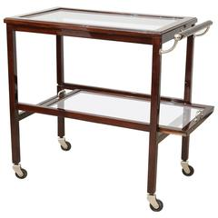 Art Deco Walnut and Glass Bar Cart with One Handle