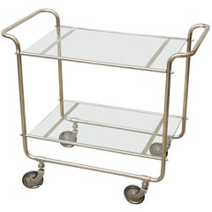 Hungarian Art Deco Glass and Chrome Bar Cart