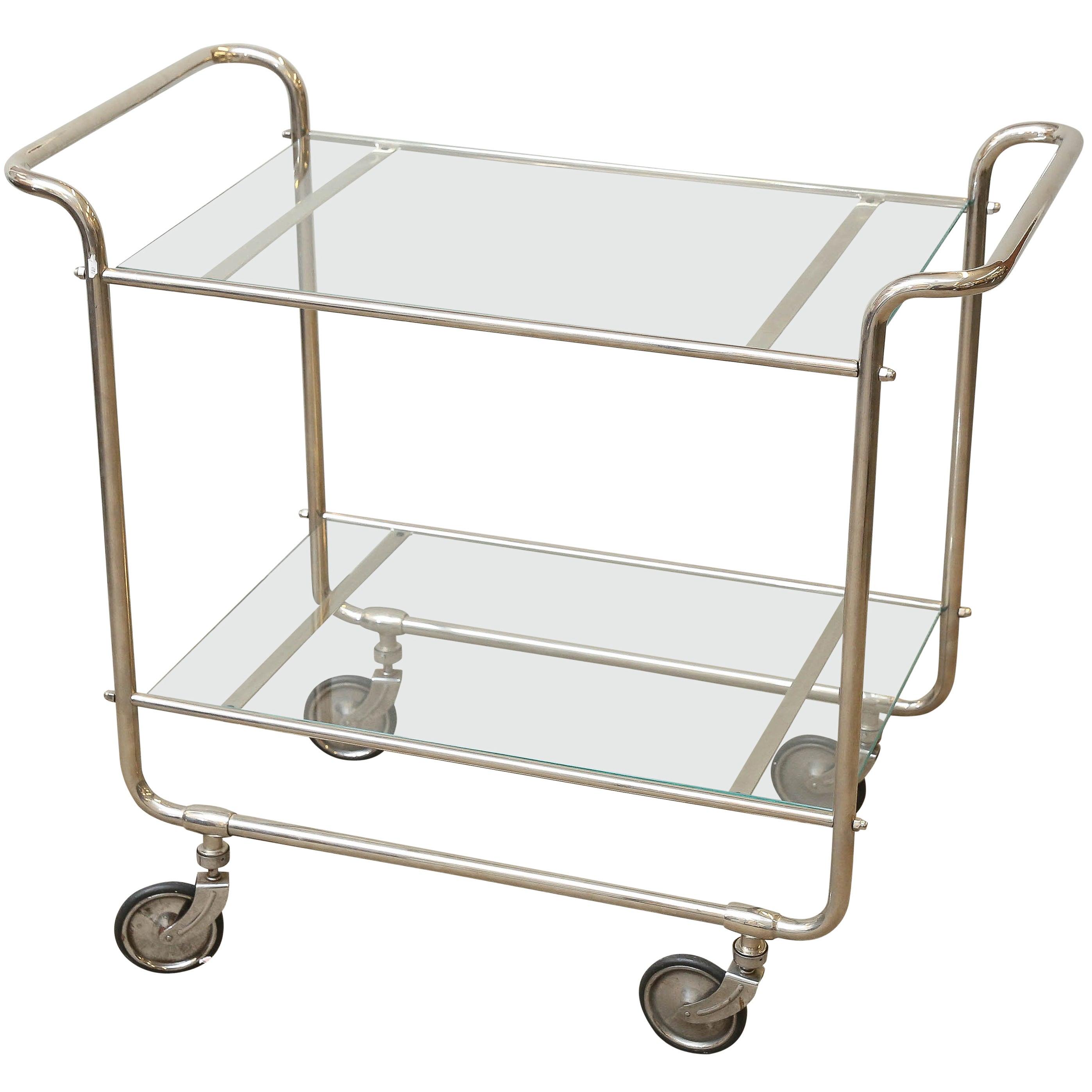 Hungarian Art Deco Glass and Chrome Bar Cart