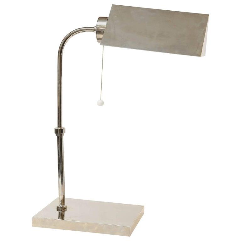 Art Deco French Chrome Desk Lamp For Sale