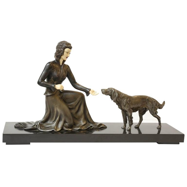 "French Sculpture, ""Lady and a Dog"" For Sale"