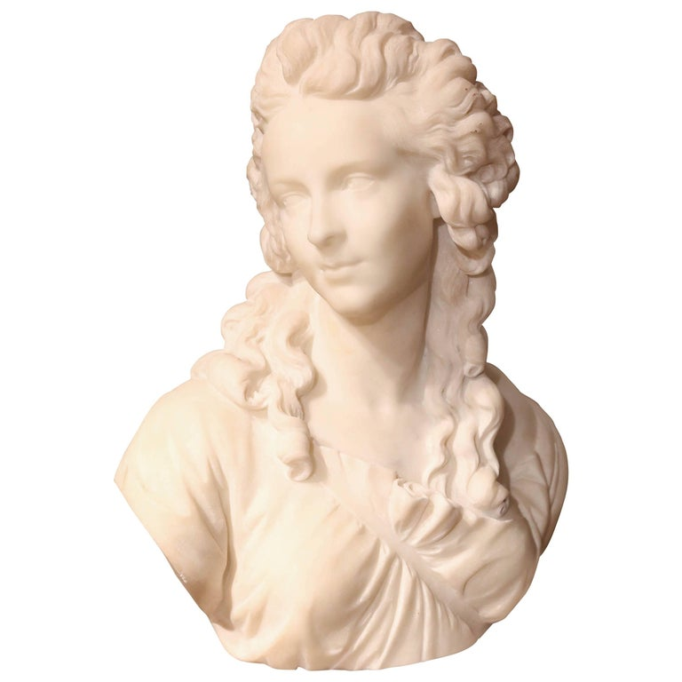 Marble Bust of a Woman, French, 19th Century For Sale