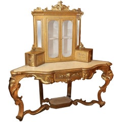 Giltwood Corner Console with  upper glass enclosed cabinet 19th Century, Italian