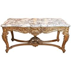 Louis XV-Style Giltwood and Marble-Top Center Table with Foliate Garlands 19th C