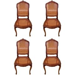 Four Classic French Walnut Dining Side Chairs