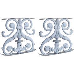 Pair of Antique French Zinc Balustrade Garden Ornaments, circa 1850