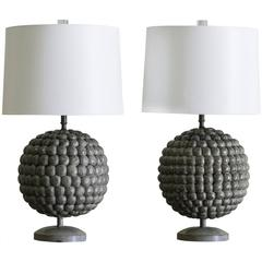 Pair of Solid Painted Wood Lamps Resembling Pomengranates Found in France