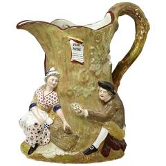 Fair Hebe Pottery Pitcher Relief Moulded and Impressed Wood, Staffordshire Late