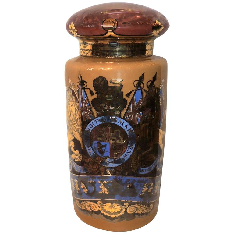Wonderful Vintage Pharmacy N Gl Apothecary Jar Reverse Hand Painted For