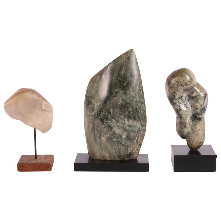 Group of Three Mid-Century Abstract Stone Sculptures