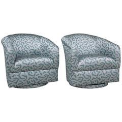 Amazing Pair of 1970s Silver Metallic Jacquard Swivel Bucket Chairs