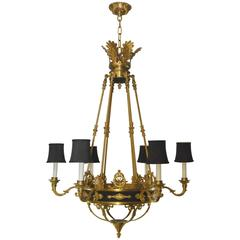 French Empire Style Six-Arm Chandelier in Gold Dore Bronze and Black Tole Accent