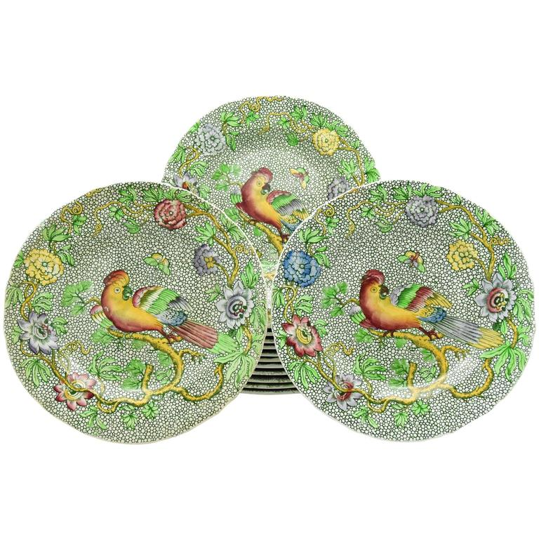 Set of 14 Copeland Late Spode Aesthetic Movement Green Parrot Dessert Plates For Sale
