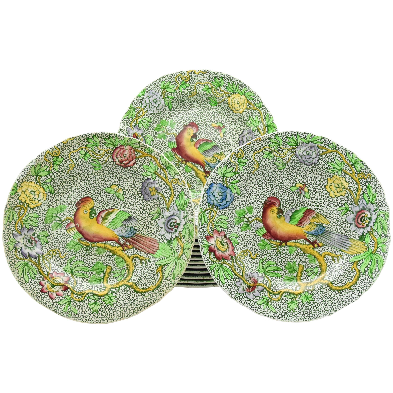 Set of 14 Copeland Late Spode Aesthetic Movement Green Parrot Dessert Plates