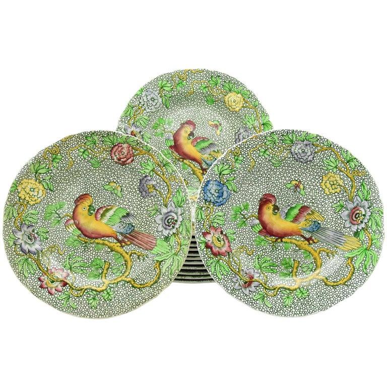 Set of 14 Copeland Late Spode Aesthetic Movement Green Parrot Dessert Plates For Sale
