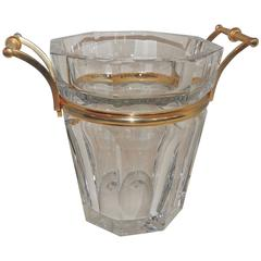 Wonderful French Signed Baccarat Crystal Champagne Ice Bucket Gilt Bronze Handle