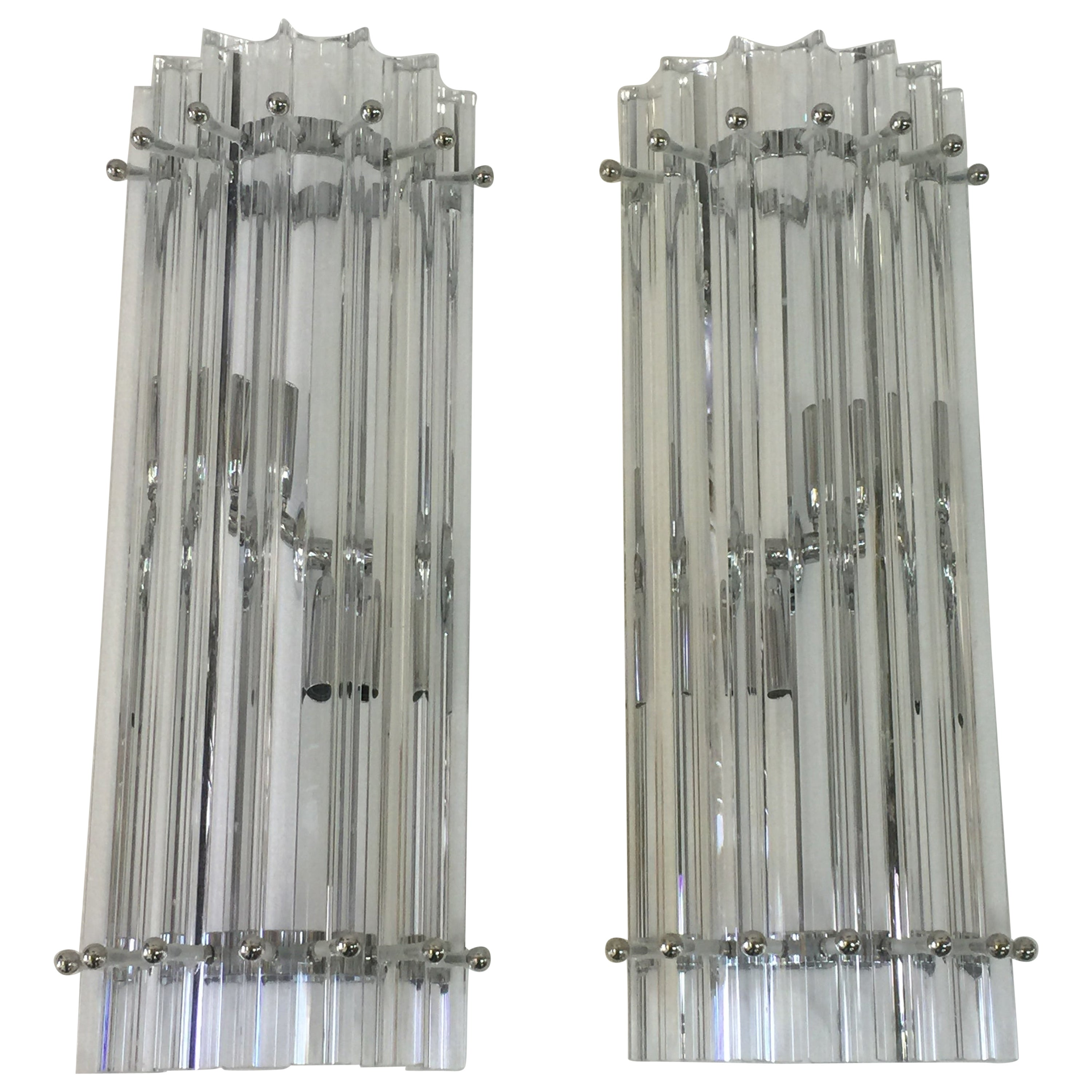 Pair of Italian Murano Tryptic Glass Rod Wall Sconces