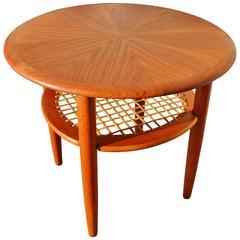 Danish Teak Starburst Side Table Lower Caned Shelf