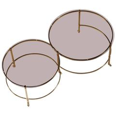 Mid-Century Concentric Brass Coffee Table