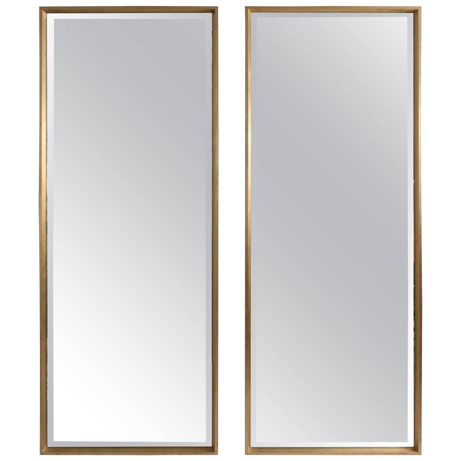 Pair Of Silver Gilt Modern Full Length Mirrors For Sale At