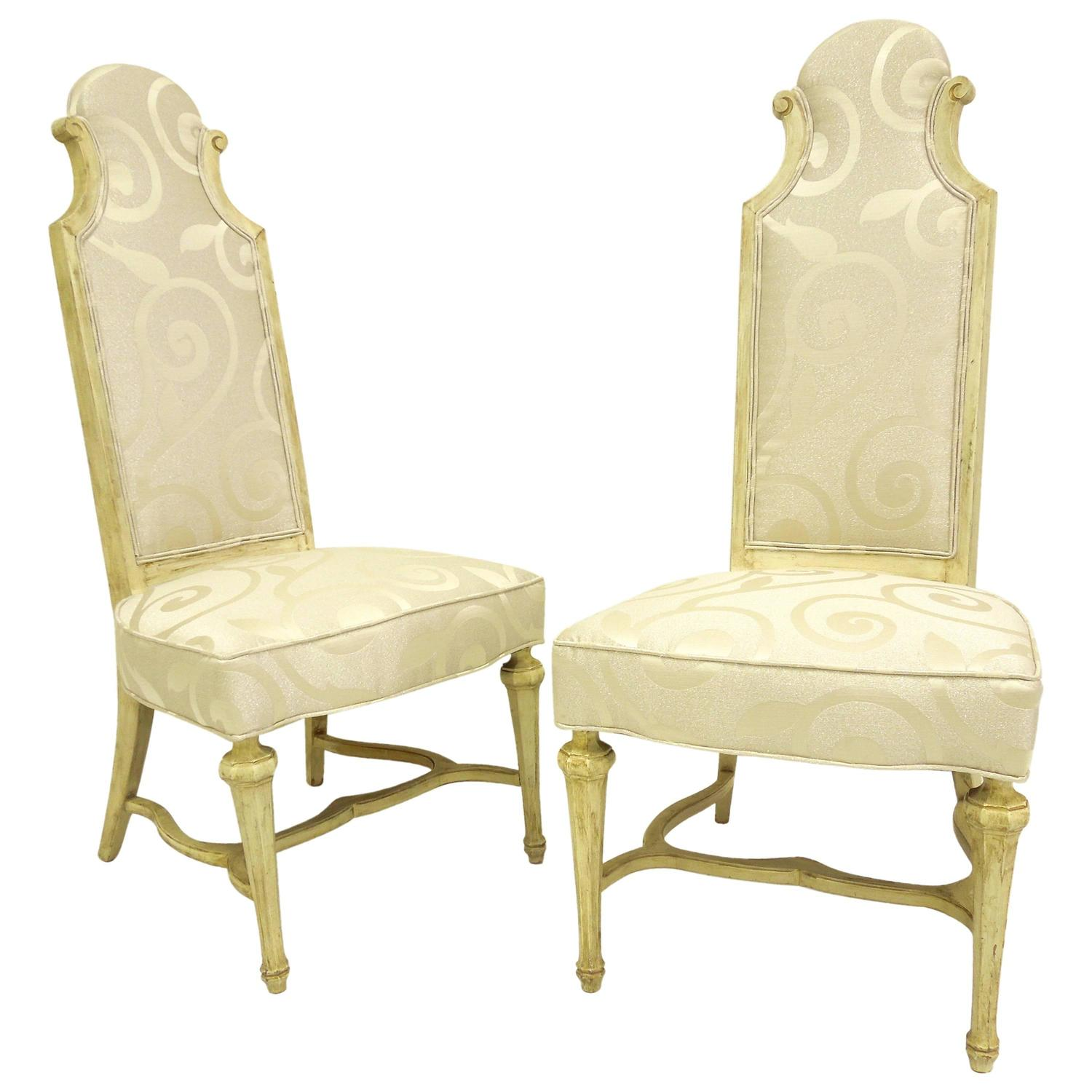 Pair of 1950s Hollywood Regency High Back Chairs For Sale at 1stdibs